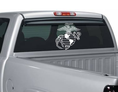 Large White USMC Eagle Globe and Anchor Vinyl Decal ()