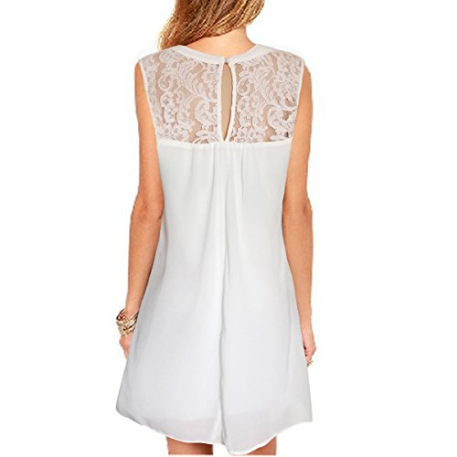 (vanberfia Casual Lace O Neck Loose Mini Chiffon Dress (S,)