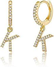 Initial Earrings for Girls Women, 925 Sterling Silver Post Hypoallergenic Small Huggie Hoop Earrings Gold Plat