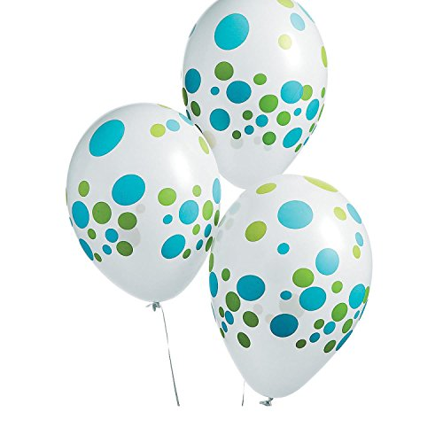 11' Latex Wedding Balloons - Green & Blue 11 Latex Balloons (With Sticky Notes)