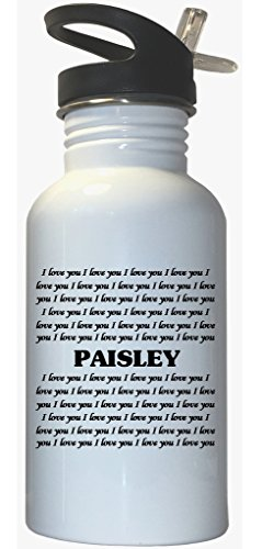 I Love You Paisley White Stainless Steel Water Bottle Straw