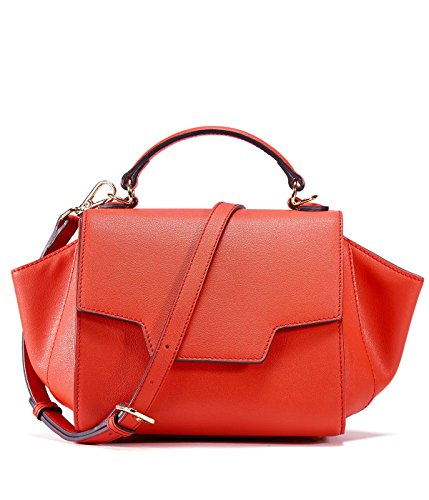 EMINI HOUSE Chic Trapeze Handle Bag with Magnetic Snap Influencer Women Handbag-Tomato Red