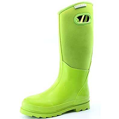 Women's Classic High Ultra Soft Neoprene Waterproof Rubber Rainboot Mid Calf Warm Winter Snow Boots, 5