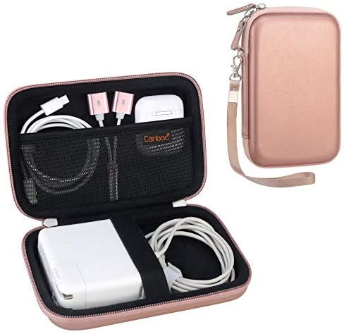 Canboc Carrying Case for MacBook Air Pro Charger MagSafe/MagSafe 2 Power Adapter, iPhone 12/12 Pro MagSafe Charger, USB C Hub, Type C Hub, USB Multiport Adapter, Hard EVA Travel Bag, Rose Gold+Black