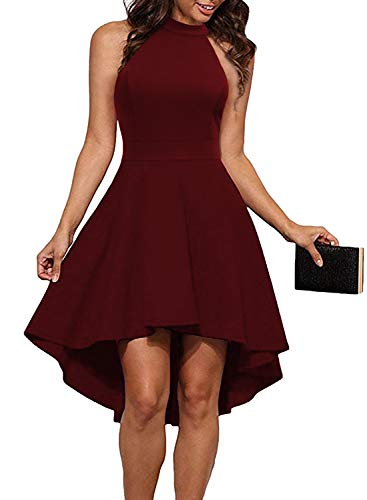 MUSHARE Women's Halter Neck High Low Backless Party Cocktail Skater Dress Burgundy -