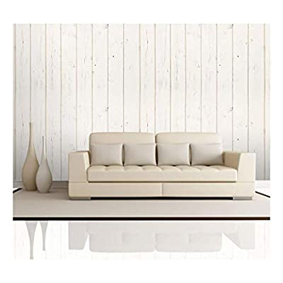 Cream Retro Vertical Wood Textured Paneling Pattern - Wall Mural, Removable Wallpaper, Home Decor - 100x144 inches