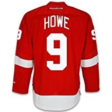 Detroit Red Wings VINTAGE Gordie HOWE #9 *C* Official Home Reebok NHL Hockey Jersey (SEWN TACKLE TWILL NAME / NUMBERS)