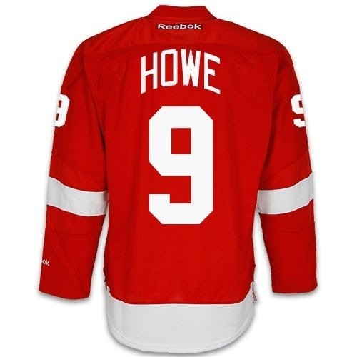 Gordie Howe Detroit Red Wings Home Red Reebok Premier Jersey Sewn Tackle Twill Name and Number (Large) (Twill Numbers)