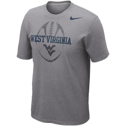 (NIKE West Virginia Mountaineers Football Team Issue T-Shirt - Ash (Large))