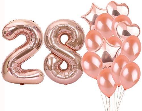 لوازم حفلات التزيين عيد الميلاد 28 بالونات وردية ذهبية رقم 28 بالونات مايلر الوردية 28 زينة بالون اللاتكس هدايا رائعة لعيد الميلاد 28 للنساء والرجال Amazon Ae