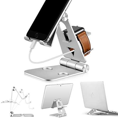 3 in 1 Phone Stand | Foldable Cell Phone Stands | for Apple Watch Stand | Portable Phone Holder Stand | Desktop Charging Dock | Cradle/Mount for iWatch iPhoneX, 8 7 6s Plus 5s c, Android by Tensteed by TenSteed