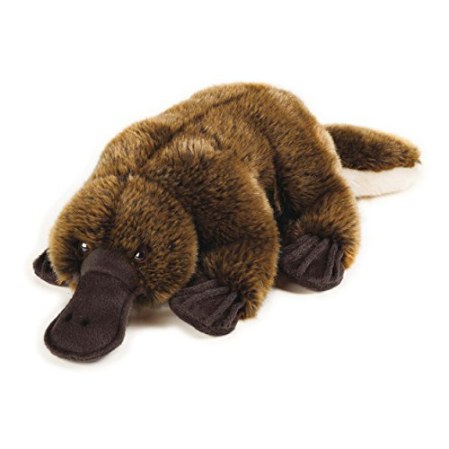 1 Piece 15.25 Inches Brown Color Platypus Animal Stuffed Toy, Zoo Animal For Kids Girls, Duck Billed Fluffy Fur Coat Learning Plush Toy, Cute Cuddly Egg Laying Mammal Jungle African Themed, Polyester (Tag Small Hang Diamond)
