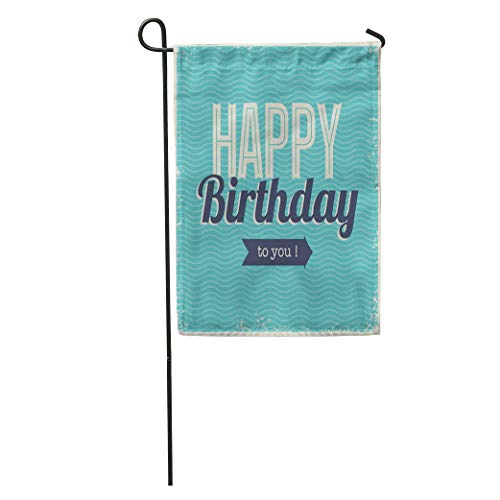 NfuquyamDoormat Garden Flag Blue Pattern Vintage Retro Happy Birthday Fonts and Chevrons Letterpress Home Yard House Decor Barnner Outdoor Stand 12x18 Inches Flag -