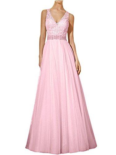 JAEDEN Encaje Vestido Rosa Novia Largo Mujer de Boda V Vestido Fiesta Tul Vestido de de Cuello BxHnrwqBf6