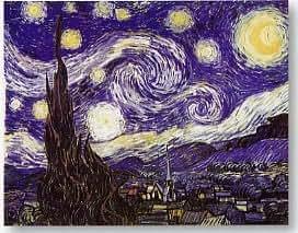 Zig Zag Art - Starry Night 1889' Por Vincent Van Gogh - lamina o impresion de alta calidad (tamaño de imagen 80 cm W x 60 cm H)