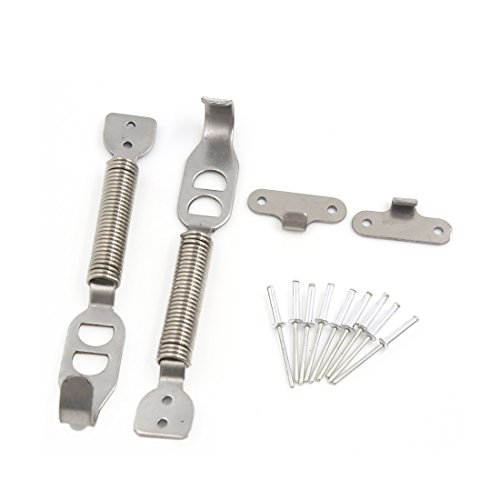 uxcell a16101700ux0555 2 PCS Silver Tone Bonnet Springs Fastener Hood Pin Lock Latch Kit Set for Auto Car, 2 Pack