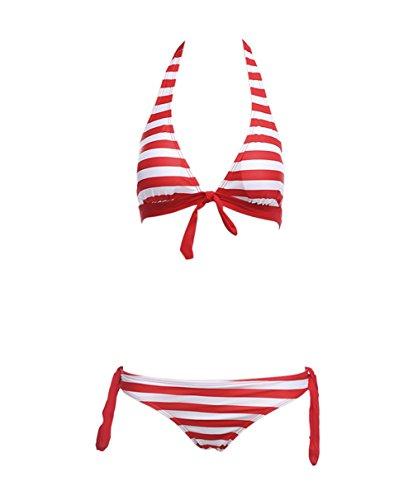 Y&L De Las Mujeres De La Raya Conjuntos De Bikini Halter Top Push Up Collar De Trajes De Baño De Playa, Trajes De Rojo
