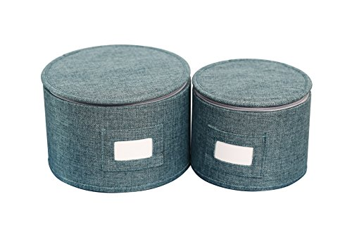 "In This Space Teal Blue Hard-shell Round Plates Protector (Set-2) S (up-to 7.5"") & XS (up-to 5.5"")"