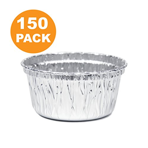 Round 3 Inch 4 oz Aluminum Foil Cupcake Bowl Pans, Muffin Ramekin Utility Cup, Hot Cold Freezer Roasting Baking Oven Safe [150 Pack]