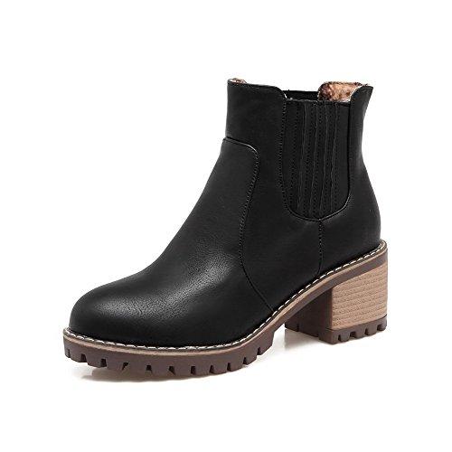 AgooLar Toe Solid Pull On Kitten Heels Round Black Lining Women's Boots Velvet 0qt0r
