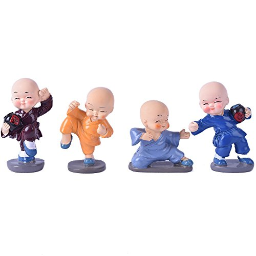 Monk Figurines (ICNBUYS Shaolin Kung Fu Figurines Monk Kids Drunken Boxing Movements Figurines Room Desk Ornament Set)