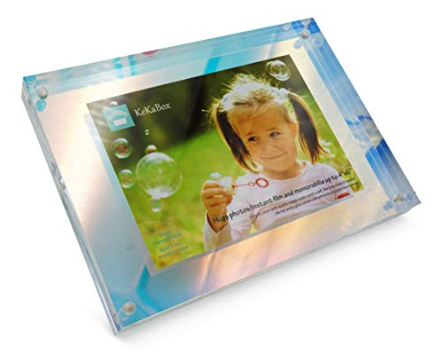 KeKaBox Whimsical Iridescent Holographic Acrylic Floating Picture Frame, Magnetic Closure - Displays Photo up to 4x6 (Picture Whimsical Frames)