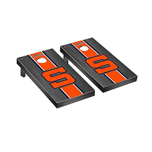 - Victory Tailgate College Vault Syracuse Orange Regulation Cornhole Game Set Onyx Stained Stripe Version