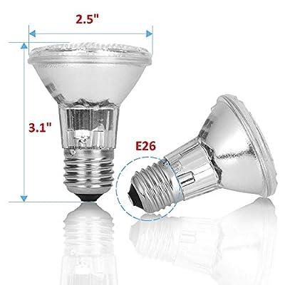 Pack of 6 Par 20 FL25 PAR20/FL Halogen Spot Light Bulb Replacement 120V 130V Base Flood Beam Lighting Range Hood Oven PAR20 Reflector Excel Bulbs DL Kitchen Bathroom Ceiling Can Lamp E26
