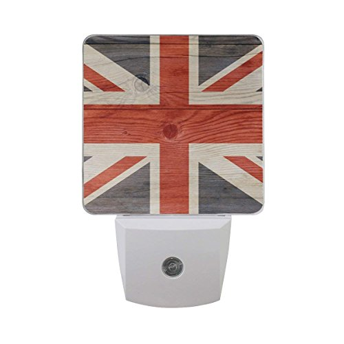 xiaodengyeluwd Set of 2 English UK Flag of Great Britain London Theme Union Jack On Wooden Background Auto Sensor LED Dusk to Dawn Night Light Plug in Indoor for -