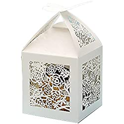 KAZIPA 50pcs Laser Cut Wedding Gift Boxes, 2.2''x2.2''x2.2'' Butterfly Favor Boxes, Wedding Candy Boxes for Wedding Favors Bridal Shower Decoration Birthday Party Favors Baby Shower(White)