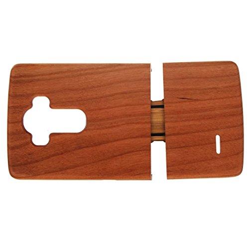 para LG G4 Wood Case, Vandot 2 en 1 Funda Madera Real Rigida Cubierta Carcasa Protectiva Tapa Trasera Anti-Shock Caja del teléfono móvil para LG G4, Diseño del árbol de coco Wood 02