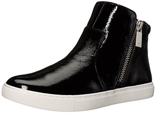 Kenneth Cole New York Mujeres Kiera High Top Doble Cremallera Patente Moda Sneaker Negro