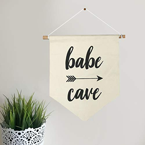 (Babe Cave Wall Banner Sign Housewarming Present Funny Quote Gift Hanging Wall Flag Canvas Banner Single Pennant Home Decor)