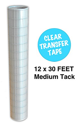 "Vinyl Transfer Tape Roll 12"" x 30 FEET Clear w/ Blue Alignme"