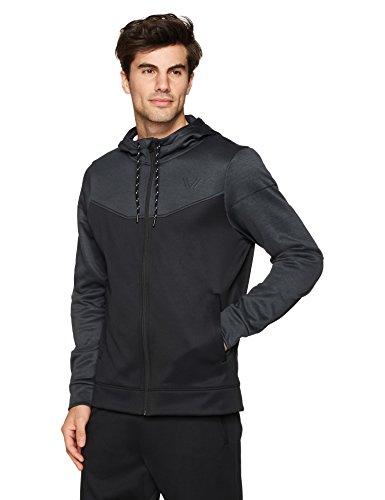 Peak Velocity Men's Quantum Fleece Full-Zip Loose-Fit Hoodie, dark grey heather/black, XX-Large (Quantum Full Zip Hoody)