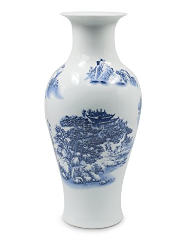 - Dahlia Chinese Landscape Painting Blue and White Porcelain Flower Vase, 14 Inches, Fish Tail Vase