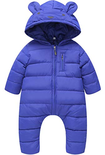 4bad9ddc7 Amazon.com: JELEUON Little Unisex Baby Hooded One Piece Puffer Jacket  Jumpsuit Winter Warm Snowsuit Romper: Clothing