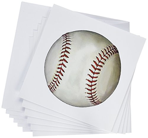 3dRose Baseball - Greeting Cards, 6 x 6 inches, set of 6 (gc_1306_1)