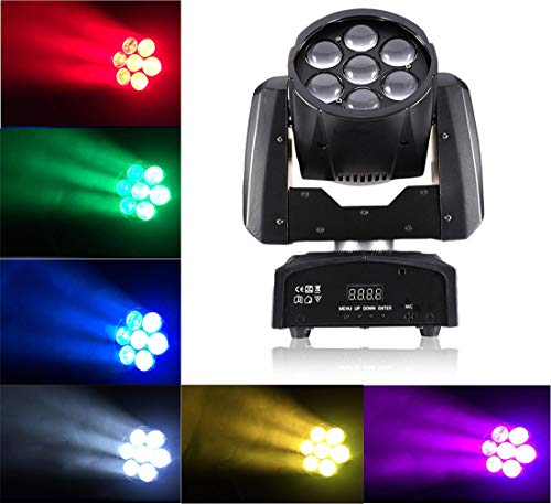 Moving Head Wash Beam Led Stage Lighting With Sound Activated 100W RGBW 4in 1 OSRAM Leds Mixing Color 15 DMX 512 Channels DJ Disco For Home Party Bars Club Wedding Ceremony Show Karaoke Lights(1 pack)