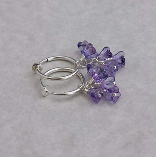 Clip hoop earrings silver-tone Ultraviolet bell flower clusters