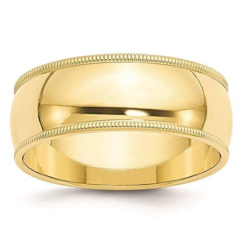 10k Yellow Gold 8mm Milgrain Half Round Wedding Ring Band Size 10.5 ()