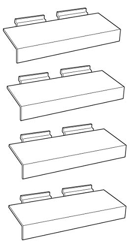 Clear Slatwall Shelves with Sign Holder 4 Inch x 10 Inch Set of 4 Retail Display