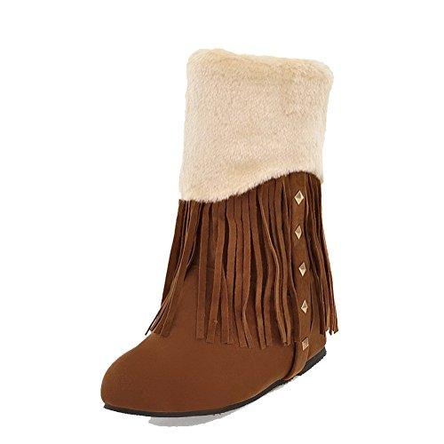 AllhqFashion Mujeres Gamuza(Imitado) Caña Baja Sólido Sin cordones Mini Tacón Botas Amarillo