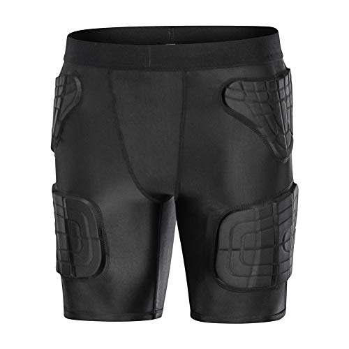 (TUOY Youth Boys Padded Compression Shorts Protective Sports Workout Butt Pads Shorts Hip Protector Cycling Basketball Baseball Football Short Pants)