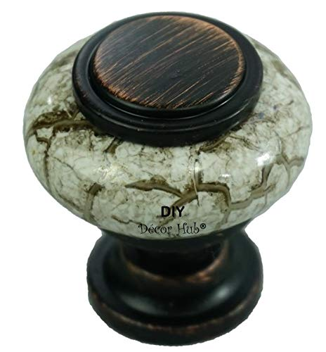 Ivory Kitchen Cabinet - DIY Décor Hub 20 Oil Rubbed Bronze and Granite-Gray (Ceramic) Knobs Pulls for Cabinets, Cupboard Dresser, Drawers for Kitchen, Bathroom or Office