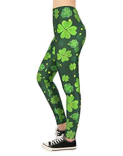- HDE Saint Patricks Day Leggings for Women St Pattys 4 Leaf Clover Shamrock Pants - Large