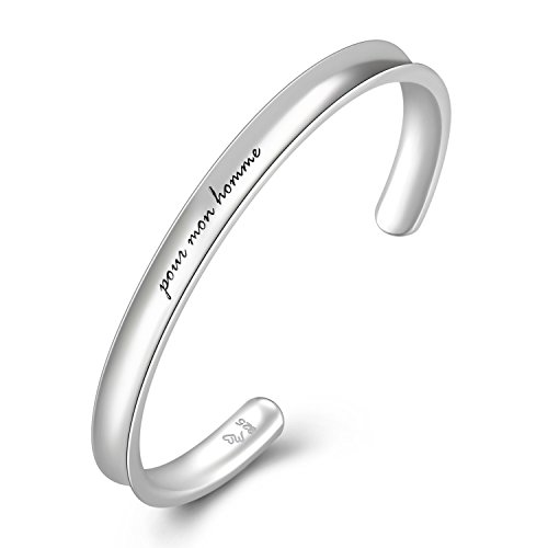 MaBelle Men's 925 Sterling Silver pour mon homme French Statement Concave Bangle (58mm) by MaBelle