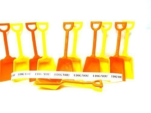 Jean's Plastics 24 Small 7 Inches Tall Toy Shovels, Mix Orange & Yellow, 24 I Dig You Stickers Mfg USA, (Plastic Toy Shovel)