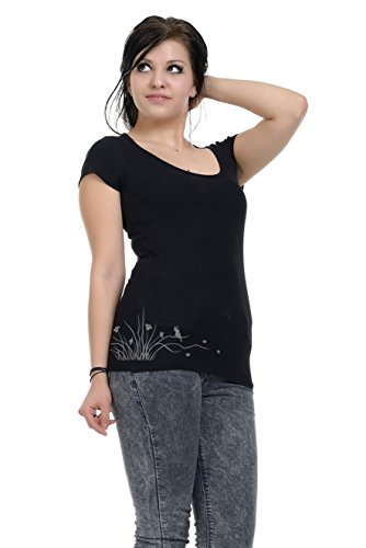 cuello mujer 3elfen Gris mangas Wind con Camiseta para corta para Negro de Elegante mujer Elfes redondo y Camisa manga Top 8Taww