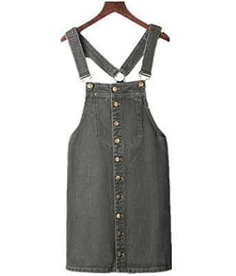 Season Show Girl's High Waist Single Breasted Suspender Denim Bib Overall Dress S Army Green